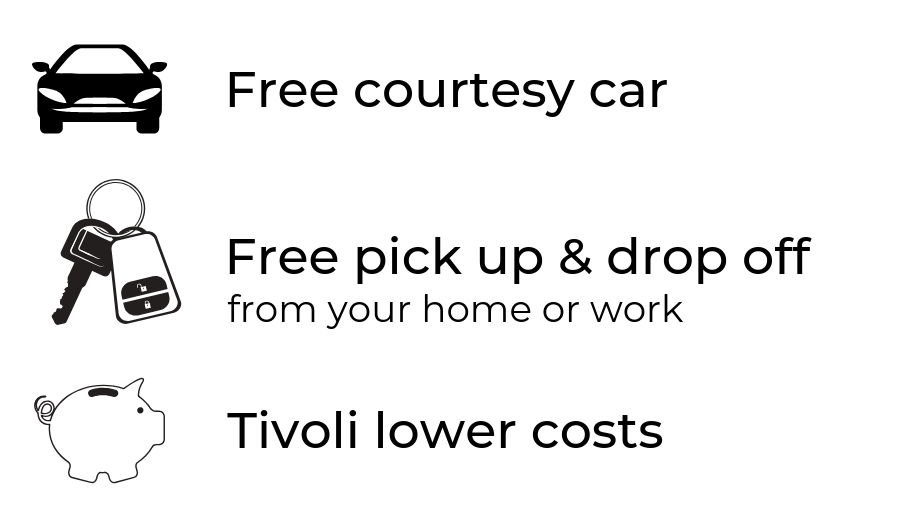 Free courtesy car, free pick up and collection
